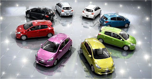 2012 Mitsubishi Mirage in a variety of colors.