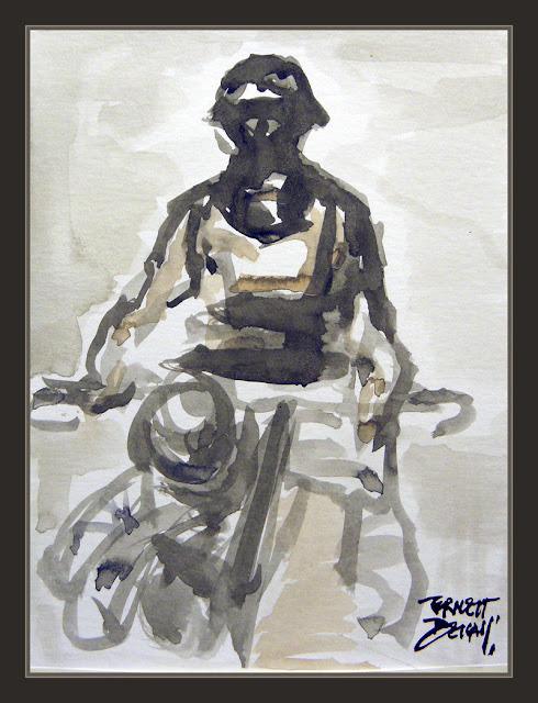 WW2-ART-PINTURAS-SEGUNDA GUERRA MUNDIAL-ACUARELAS-WATERCOLOR-MOTORISTA-SOLDADO-ALEMAN-PINTOR-ERNEST DESCALS-