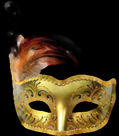 Máscara Carnaval PNG - Brilhantes e plumas gold