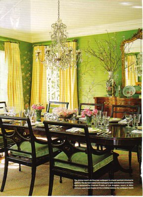 Sybaritic spaces blue green and dining rooms for Dining room ideas green