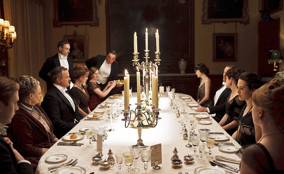 We See Them Sitting Around Their Long Circular Table In That Gorgeous Dining Room Watch As The Footmen Discreetly Bring Round Course After