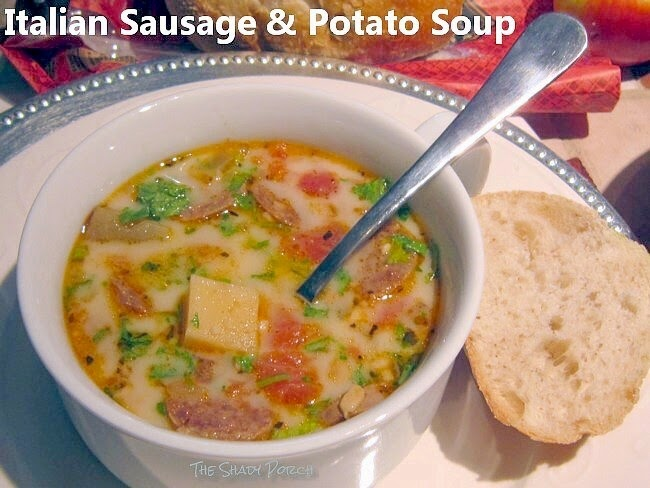 a serving of Italian Sausage & Potato Soup: Slow Cooker