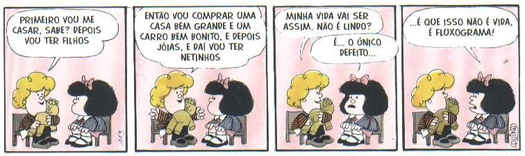 Tirinha Mafalda: Vida ou Fluxograma