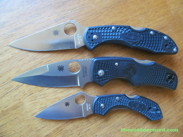 From Top: Spyderco Delica, Spyderco Native, Spydero Dragonfly