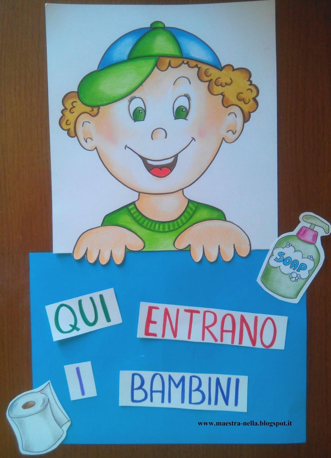 maestra Nella: cartelli per la porta dei bagni