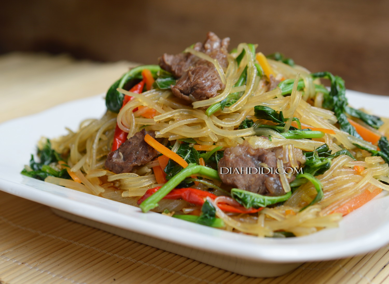 Tumis Soun Ala Jap Chae, Korean Stir-fried Glass Noodles