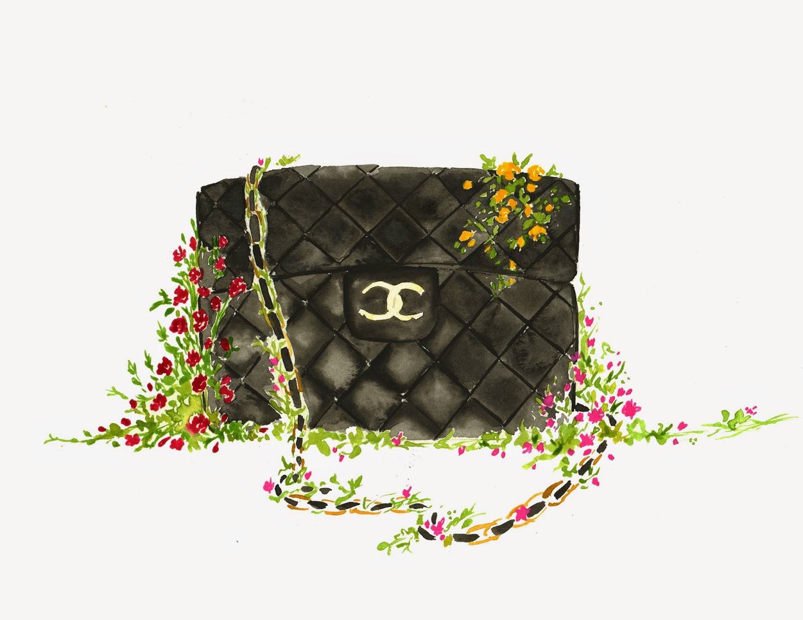 Chanel Bag Illustration Classic Chanel Bag Covered
