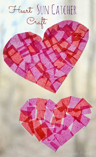 These heart suncatchers are fun for kids to make and look beautiful hanging in the window- a perfect craft for Valentine's Day!