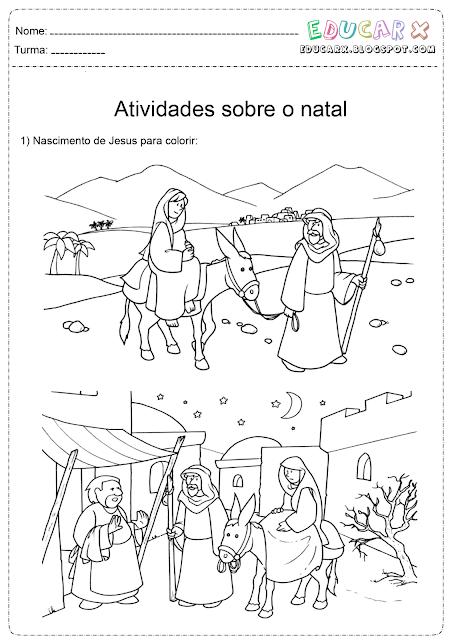 Colorir natal nascimento de Jesus cristo