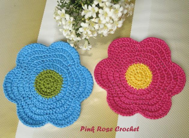 Free Crochet Flower Dishcloth Patterns Flower Power Dishcloth