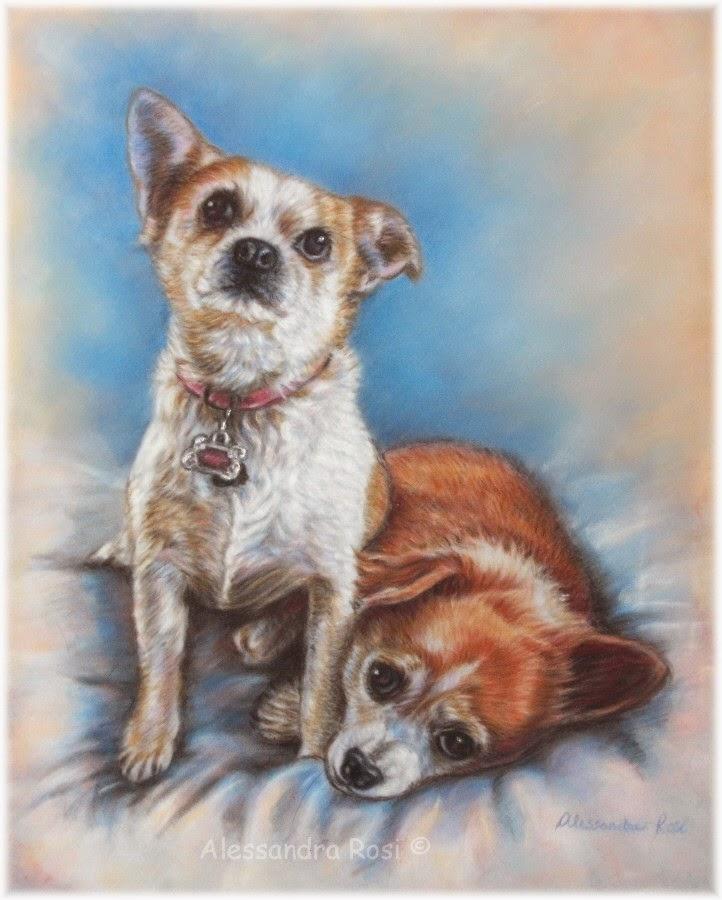 Custom dog portraits pastel painting