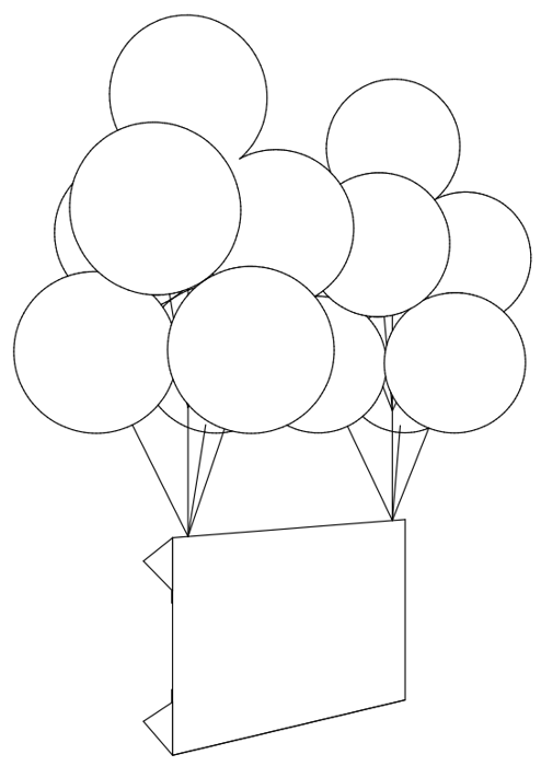подъем плаката при помощи шаров с гелием