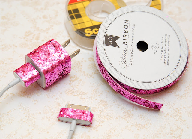 glitter your cell phone charger with glitter ribbon
