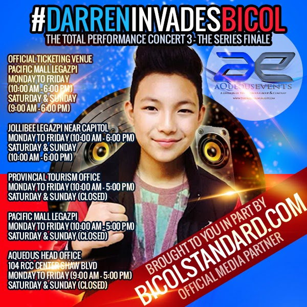 Where can I buy tickets to the Darren Espanto Total Performance Concert 3 in Bicol?