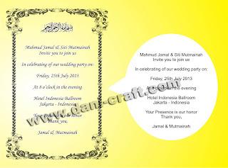 Undangan Pernikahan Bahasa Inggris, Kata-kata Undangan Bahasa Inggris