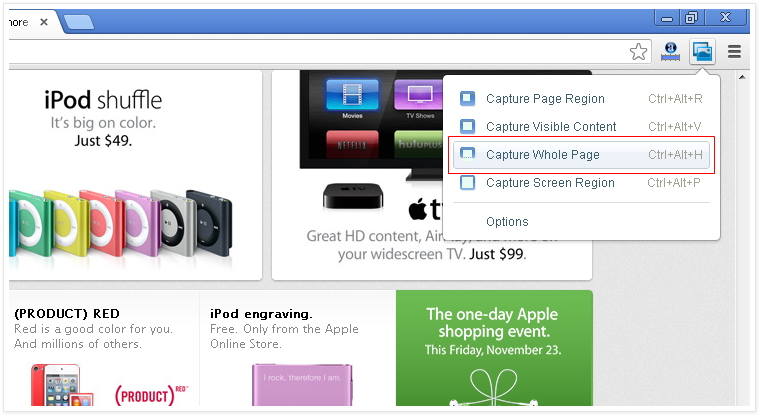 Capture Whole Page by google screen capture