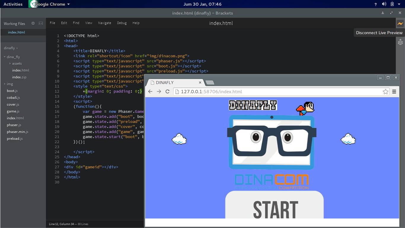 aplikasi teks editor gratis untuk pemrograman web membuat template blog dan wordpress dengan software brackets Muiz-Techno