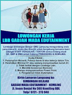 Lowongan Kerja Lampung Lembaga Bimbingan Belajar GME Yogyakarta