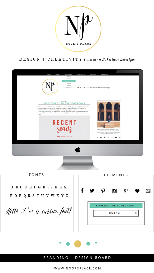 Branding and design board for noors place lifestyle blog with logo