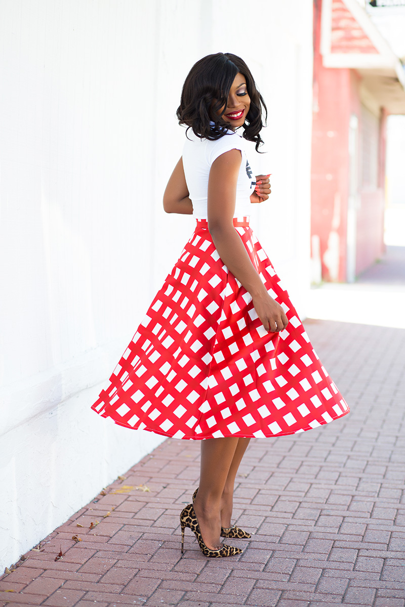 Chicwish midi skirt, Christian Louboutin pumps, jadore-Fashion.com