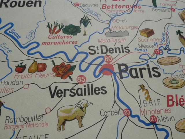 Vintage french posters botany animals anatomy old world maps from map of paris normandy used in french school 1950 gumiabroncs Gallery