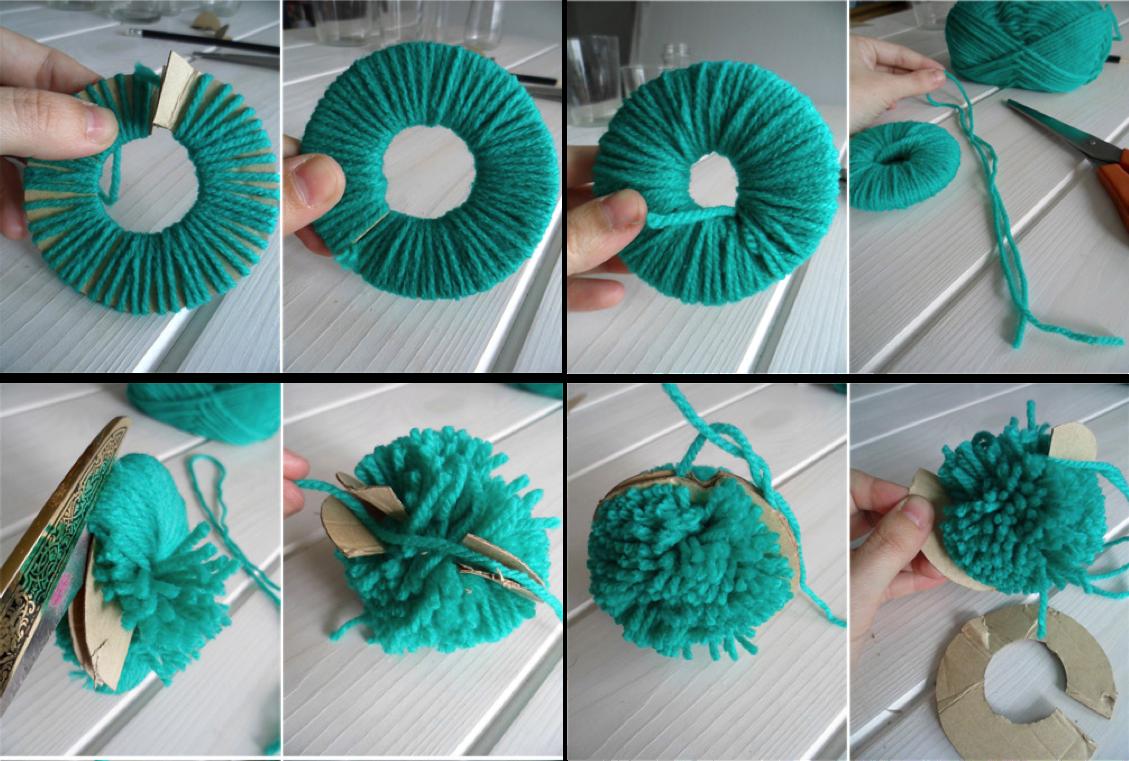 Como hacer un tapete o alfombra con pompones tattoo - Como hacer pompones ...