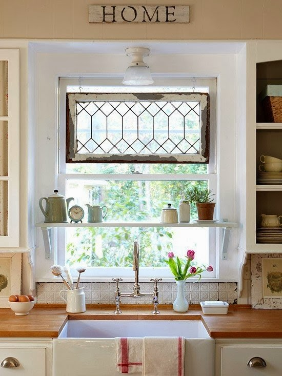 creative kitchen window ideas, sink under the window, kitchen shelves