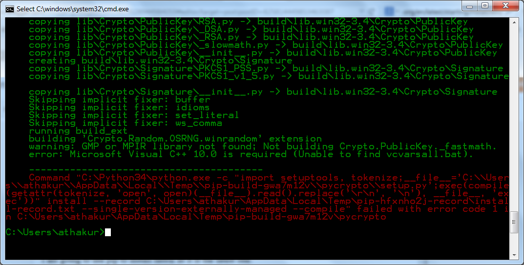 Pycrypto warning gmp or mpir library not found