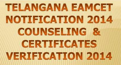 Telangana EAMCET Notification 2014 Counseling Dates @ www.apeamcet.nic.in