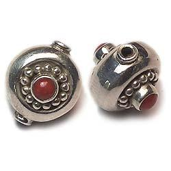 Round Shaped Silver Stone Beads