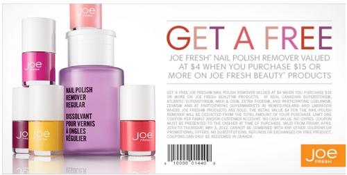 Canadian Daily Deals: Joe Fresh: Free Joe Fresh Nail Polish Remover ...