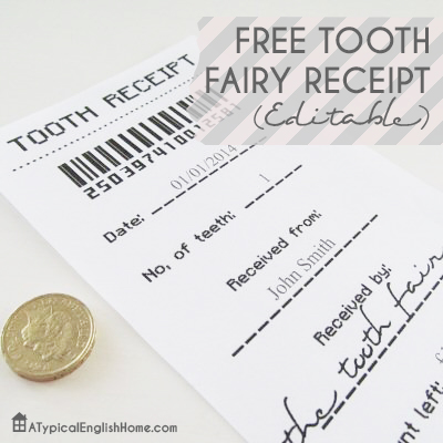 Dramatic image throughout printable tooth fairy receipt