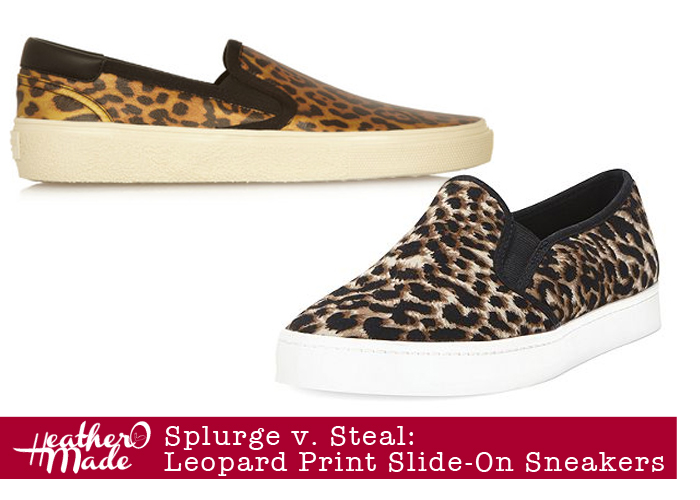 splurge v. steal: leopard print slide-on sneakers