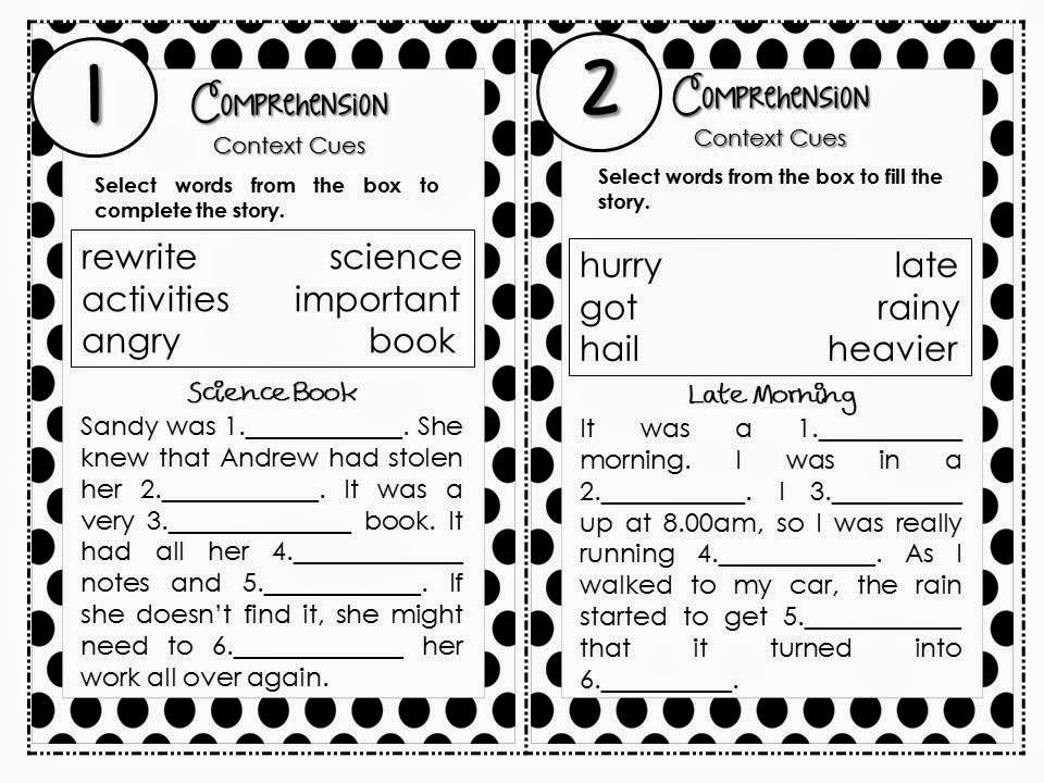 http://www.teacherspayteachers.com/Product/Task-Cards-14-Comprehension-Passages-Context-Cues-QR-Code-Checks-1343490