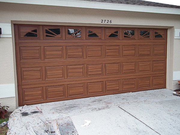 Paint front door to look like wood and to match garage for Wood looking garage doors