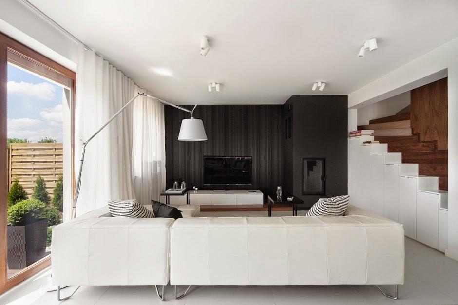 Casa d58 decoraci n interior minimalista polonia Casa minimalista con jardin