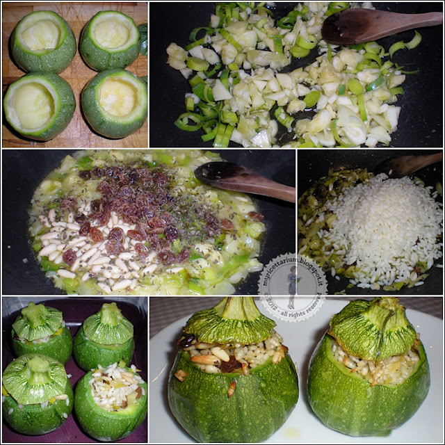 Zucchine tonde ripiene di riso