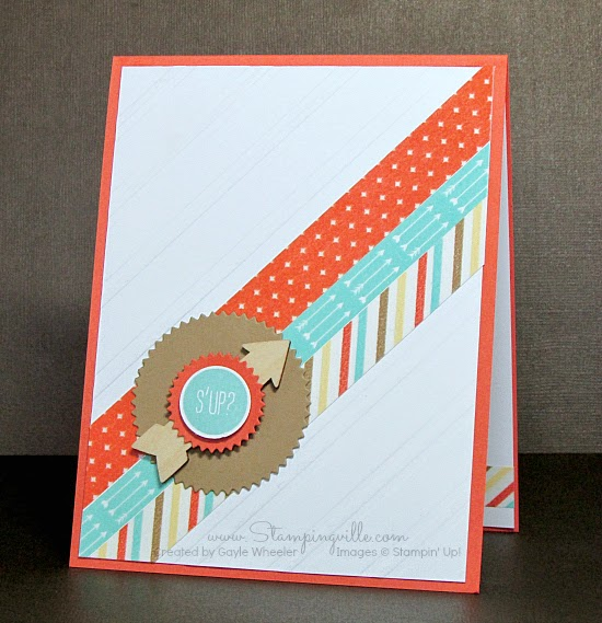 Fun thinking of you or all occasion card by Stampingville with Stampin' Up! Hi There stamp set and Starburst Framelits.