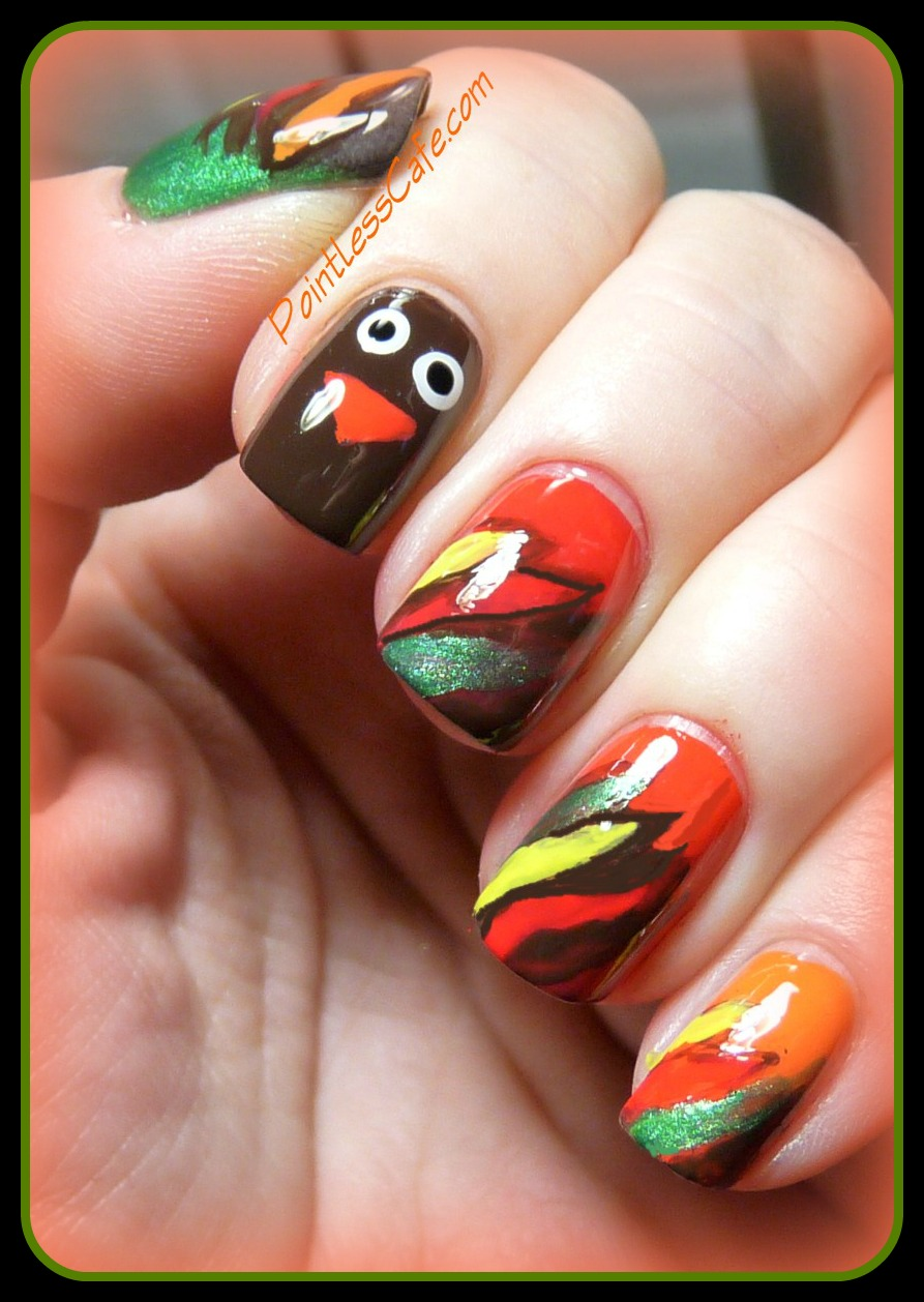 Thanksgiving nail design images : Autumn theme week day two autumnal gobbler pointless cafe