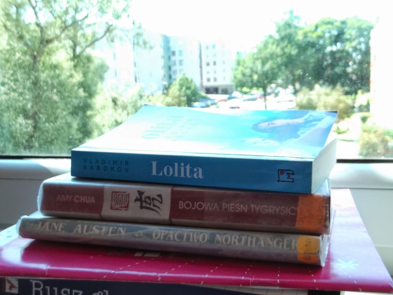 books, Lolita, Northanger Abbey, Bojowa pieśń tygrysicy, opactwo Northanger, książki, wakacje