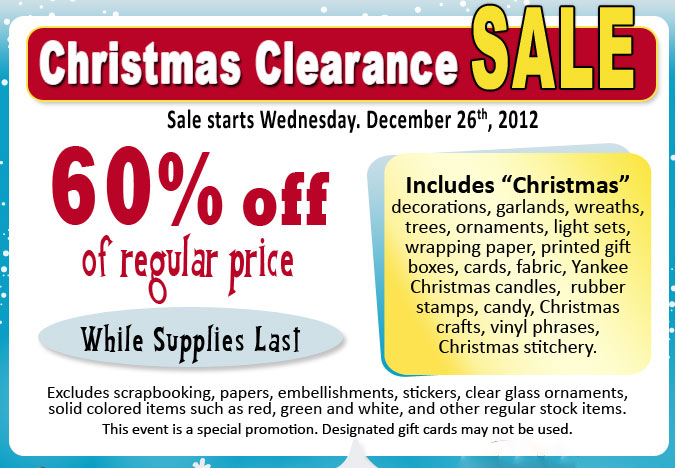 Ben franklin crafts and frame shop after christmas for Clearance craft supplies sale