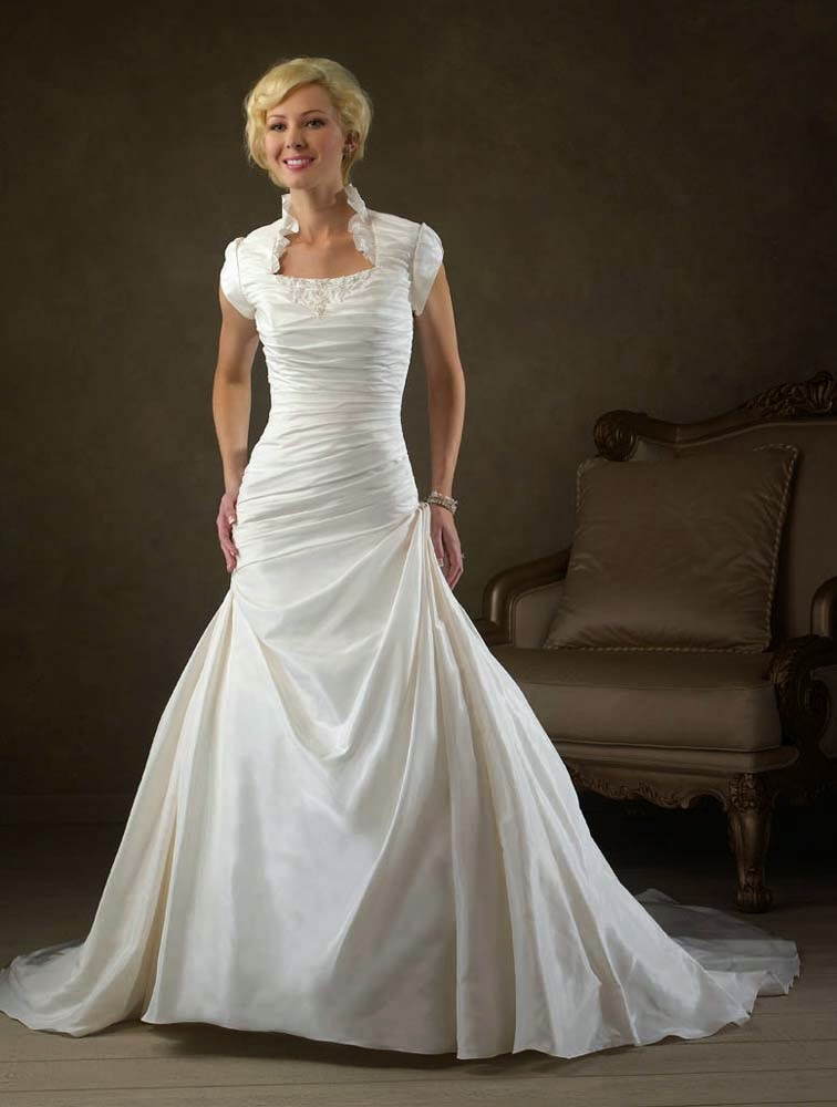 modest wedding dresses cap sleeves long trains pinterest