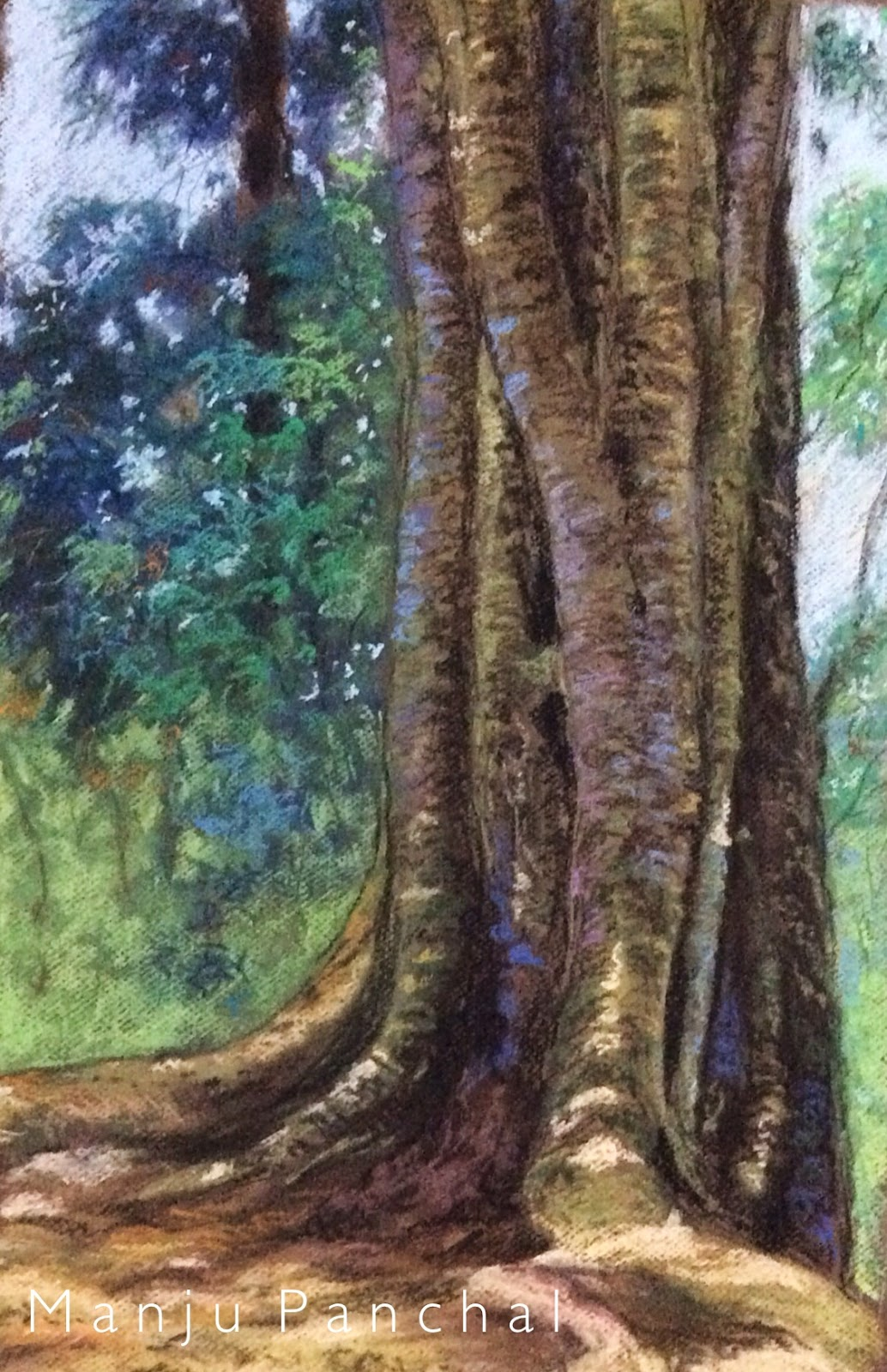 Soft pastel painting of a tree in COORG by Manju Panchal