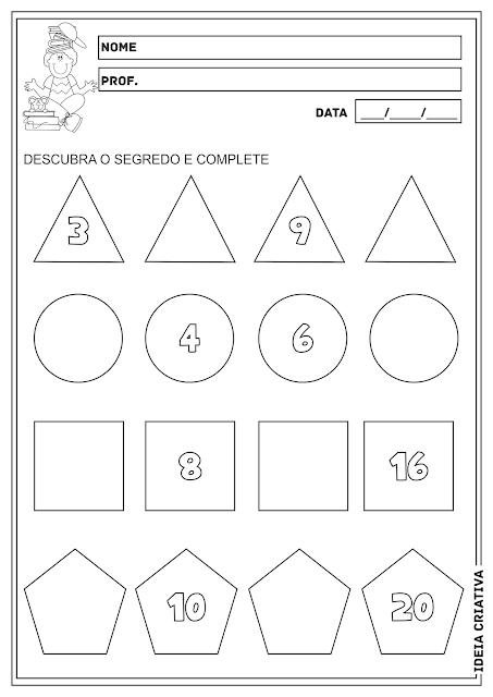 Sequência Numérica Formas Geométricas Atividade