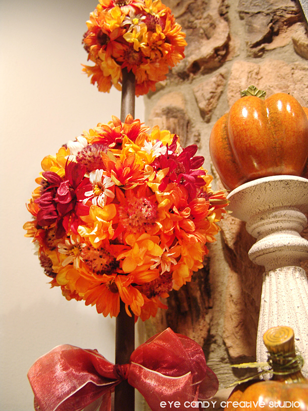 how to make a fall topiary, fall flowers, pumpkins, fall colors, mantle decor