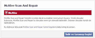 facebook McAfee Scan And Repair sorunu