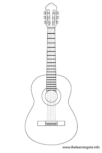 free coloring pages of acoustic guitar