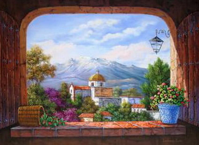 Im genes arte pinturas paisajes de casas antiguas pinturas for Cuadros mexicanos rusticos