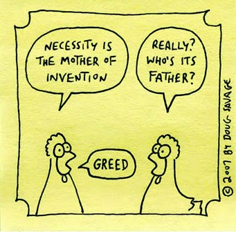 Joke, Humor Cartoon on greed.
