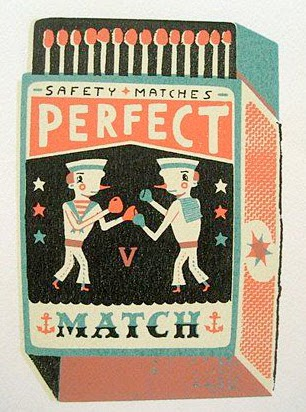 matchbox illustration of two sailors boxing in a perfect match by Tom Frost